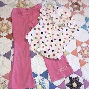 4T Gymboree shirt & Disney pink boot cut jeans